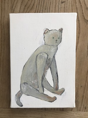 猫ぬいぐるみ キャンバス絵
