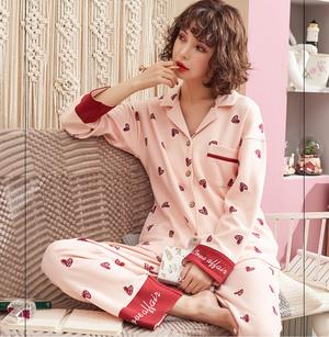 【天然素材コットン綿】授乳・妊婦ハート柄パジャマ♡   p