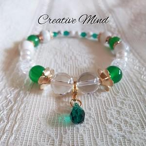 グリーンメノウ×水晶◆雫ブレス