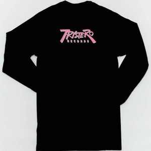 Trystero Records LOGO Long Sleeve Pocket TEE Neon color(ピンクxグリーン)  body:BLACK