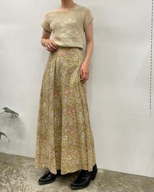 1990s~ fabindia flower print indian cotton maxi skirt 【M】