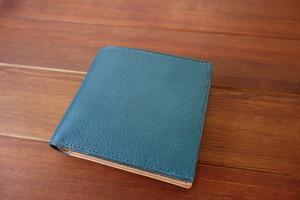二つ折り財布 イタリアンレザー ターコイズ×ナチュラル