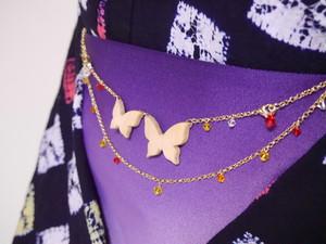 蝶の帯飾り(羽織紐)【紅×橙色×菜の花色】2WAY
