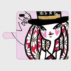 手帳型iPhone Plusケース「お花とシルクハット」