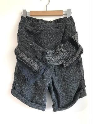 HarmonyKa 手編みベルト付きラップパンツ Charcoal gray