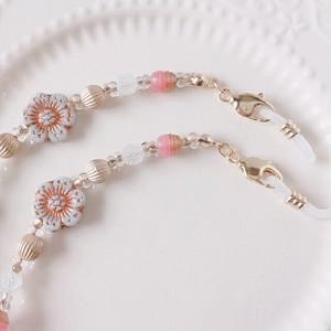 【メガネチェーン】お花チェコガラス☆ピンク (M05)