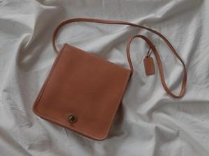 """AMERICA 1990's OLD COACH """"LIGHT BEIGE Leather"""" shoulder bag"""