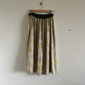 print linen gather Skirt イエロー×グレー