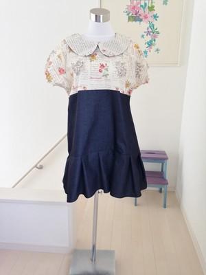 エレガントブラウス+デニムスカート キチンとした可愛さの丸襟ワンピース