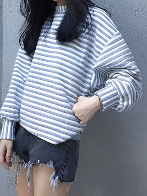【tops】Wild loose striped student sweater shirt