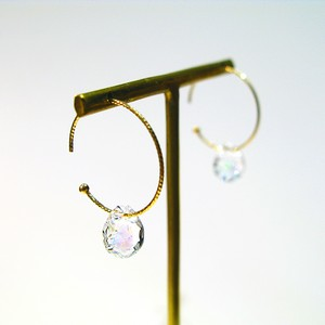 PIRI Hoop ピアス K10YG OPAL Color : White