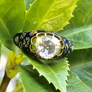 Rosecut Diamond  Enamel  Ring