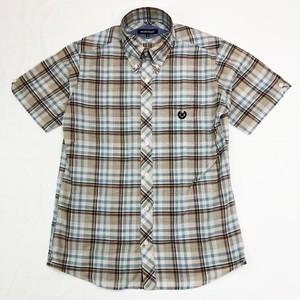CHECK 半袖 ボタンダウンシャツ Off White / Beige / Brown