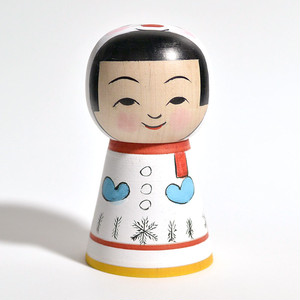 雪だるまこけし 約3.5寸 約10.8cm 山谷レイ 工人(津軽系)#0054