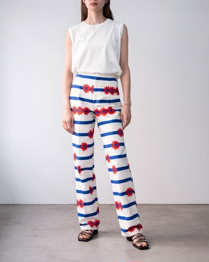 1970s floral print striped flare trousers