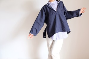 セーラー 【Sailor collar pullover shirt 】-cotton・navy-