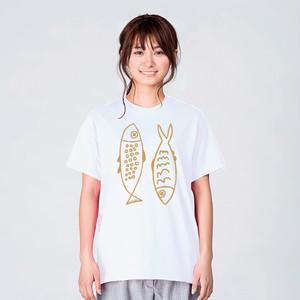 北欧 魚 Tシャツ メンズ レディース おしゃれ かわいい 白 夏 プレゼント 大きいサイズ 綿100% 160 S M L XL