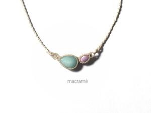 ブルークォーツァイト+フォスフォシデライト macrame necklace