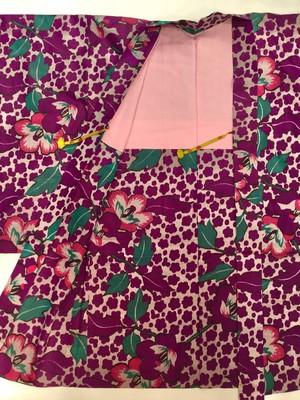 羽織 銘仙 紫 椿と梅シルエット