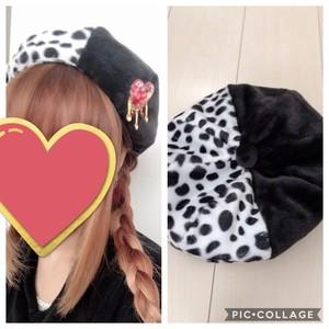 ハンドメイド ♡ ダルメシアンベレー帽
