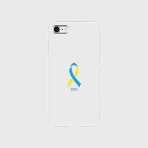 iPhone8 クリア ダウン症候群アウェアネスリボンデザイン