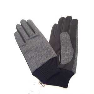 Lamb Suede Tweed Glove Dark Gray