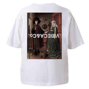 vibeca ボックスシルエット絵画ポケットTシャツ white