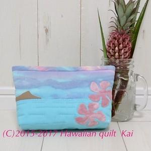 ハワイアンキルトで作るポーチ ワイキキビーチ沿いに咲くプルメリア Kaiオリジナルキット 黄色とピンクのプルメリア、レトロな仕上がりがすてきです♡