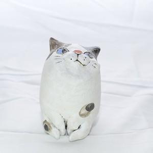 お座り猫鉢 三毛-2