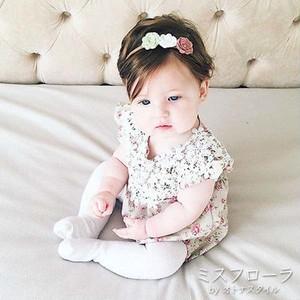 【予約】刺繍レース 花柄 ロンパース 女の子 ガール 半袖 サマー