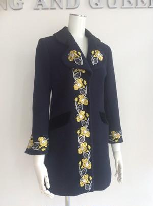 Navy Yellow Floral Wool Women Coat 紺色ウール黄色い花 レディースコート
