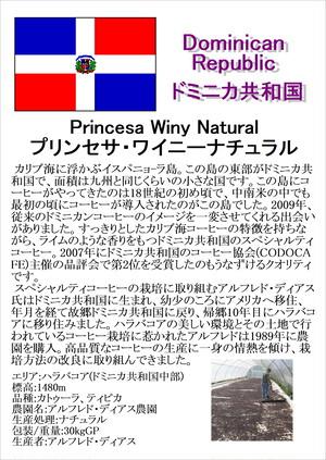 ドミニカ共和国 (Dominican Republic)・ プリンセサ (Princesa) ・ ワイニーナチュラル (Winy Natural) 中深煎り 200g