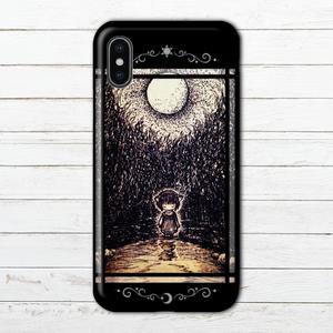 #004-004 iPhoneケース スマホケース かわいい 女の子 イラスト ノスタルジー iPhoneXs/X Xperia ARROWS AQUOS  タイトル:深い森、月の夜 作:水無月りい
