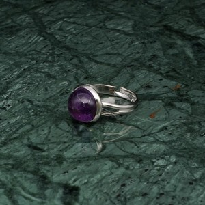 ROUND STONE RING SILVER 008