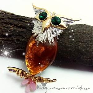 幸せのふくろう★琥珀 カボッションガラス&ラインストーンヴィンテージ ブローチ 大ぶり 鳥モチーフ