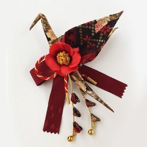 織り鶴髪飾り 椿