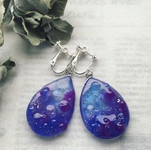 グレープ 紫 青 レジン イヤリング ブドウ 軽い ピアス変更可能 スワロフスキー  誕生日 プレゼント お祝い