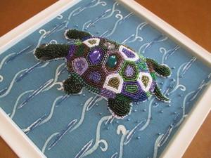 亀のビーズ刺繍額