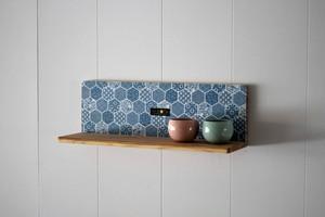 KOTAオリジナル 和柄L型飾り棚 (和柄ブルー)棚板 壁収納 和柄 国産 木 杉 ハンドメイド 手作り 箱 収納 棚 小物 飾り棚 オリジナル