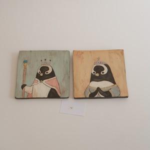 つぐみ製陶所 陶板画 ジェンツーペンギン 2枚組