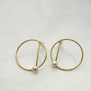 cercle pierce(淡水パール×真鍮ピアス)B26