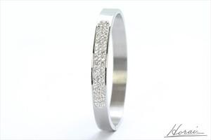 【即納】 Horai バングル シンプル デザイン メタル ラインストーン シルバー 結婚式 お呼ばれ