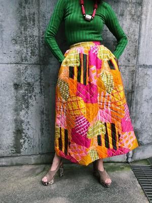 70s mix print quilting long skirt ( ヴィンテージ ミックス柄 キルティング ロングスカート )