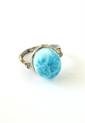 高級石「 ラリマール 」高品質リング(指輪) フリーサイズ R-5