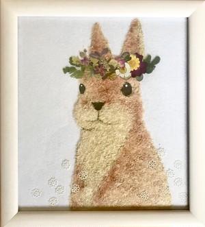 押し花アート【花かんむり兎】