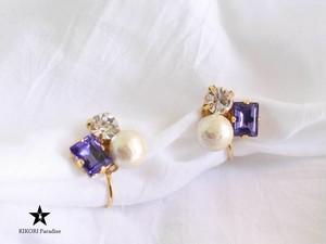 パールとビジューのイヤリング【Purple】
