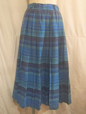 One way pleats check skirt /Made In West Germany [O-119]