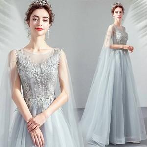 8005カラードレス ロングドレス 結婚式二次会 発表会 披露宴 演奏会 大きいサイズ  小さいサイズ グレー