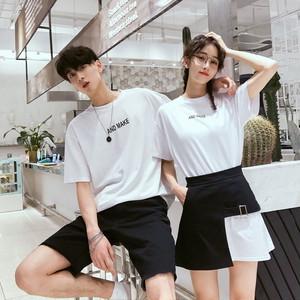 モノトーン Tシャツ スカート 0766 メンズハーフパンツ セットアップ カップル ペアルック リンクコーデ カジュアル お揃い デート