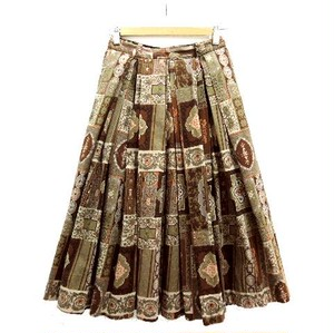 60's Vintage Brown Floral Print Cotton Skirt